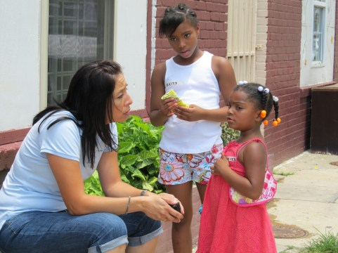 Rachel counseling one of the children