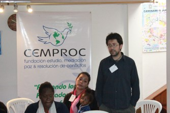 Luis Tapia, pastor the Mennonite Church, sharing about the church's partnership with CEMPROC. Photo by Abdul Aziz.