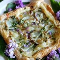Wild Mustard Tart w/ Potato & Gruyere Cheese (drizzled with Coastal Mugwort Honey)