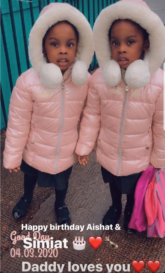Naira Marley shares photos of her twin girls Aisha and Samiat