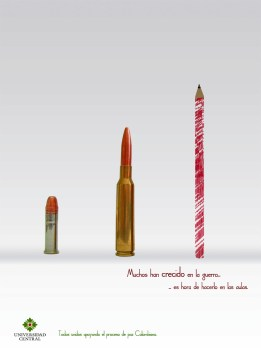Grade: advertising campaings - Exercise: The peace process - Reference: pencil