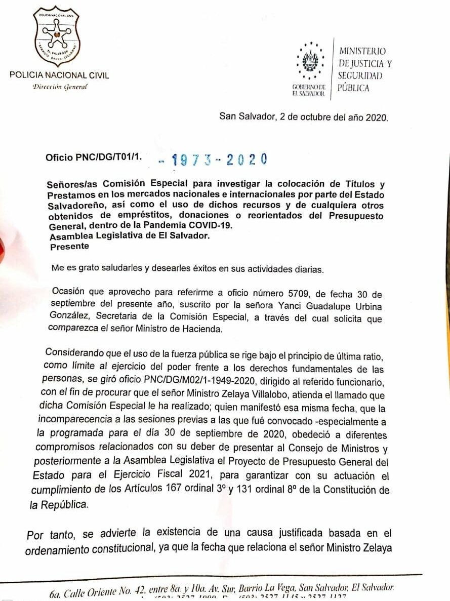 Carta que el director de la Policía, Mauricio Arriaza Chicas, envió a la Asamblea para excusarse tras haber incumplido la orden de llevar por la fuerza al ministro de Hacienda para que rinda cuentas.