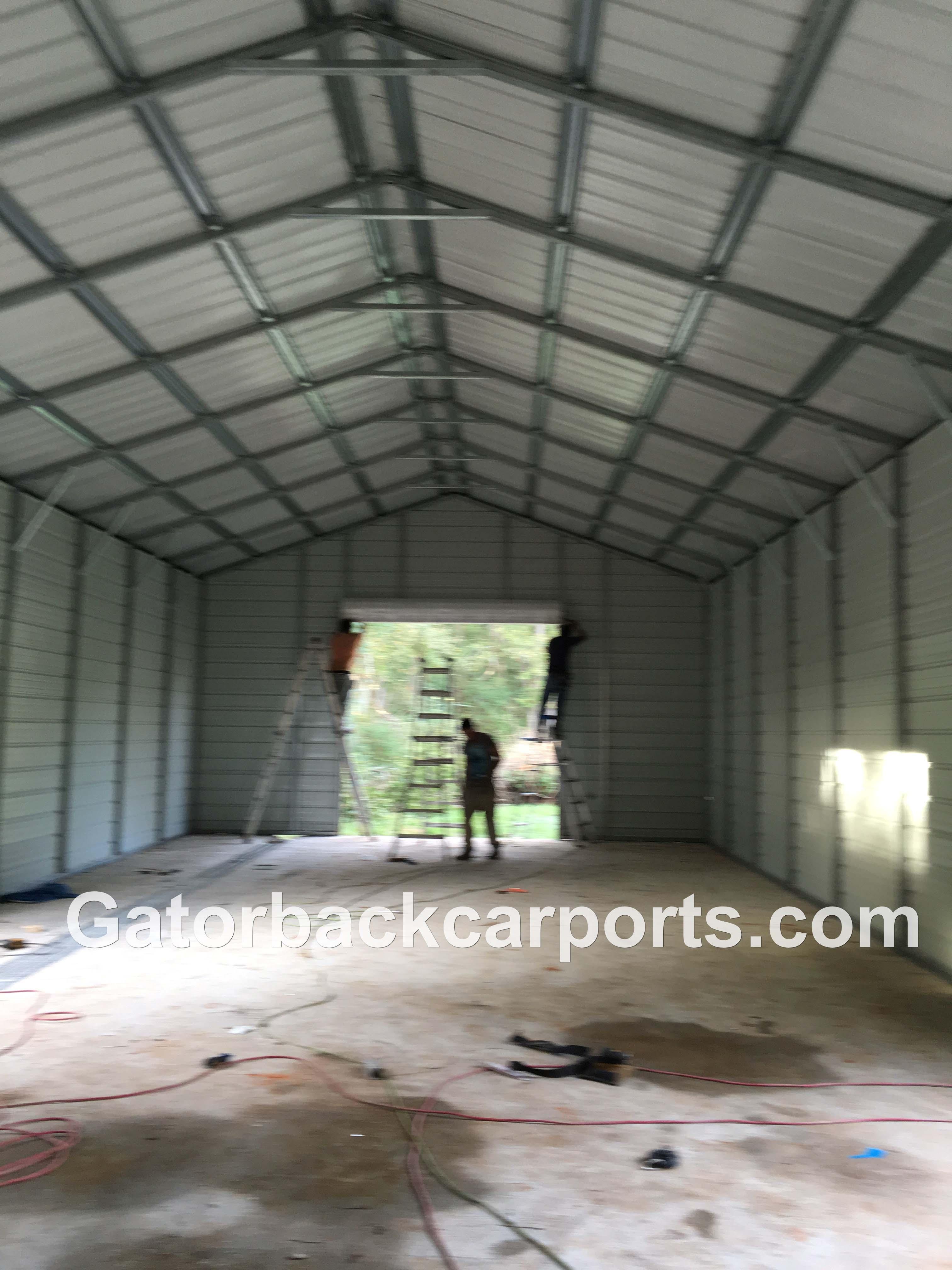 Look Inside A Steel Garage Job Gatorback Carports