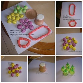 traditional wedding fondant accessories collage