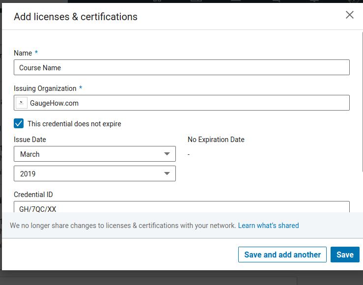 how to add certificate in linkdin