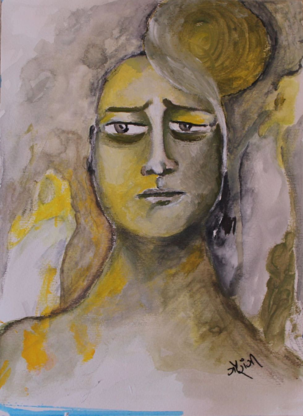 Title: Melt-down Medium: Acrylic and charcoal on watercolour paper Size: 11.7*16.5 inches (2017) Artist: gaurangi mehta shah