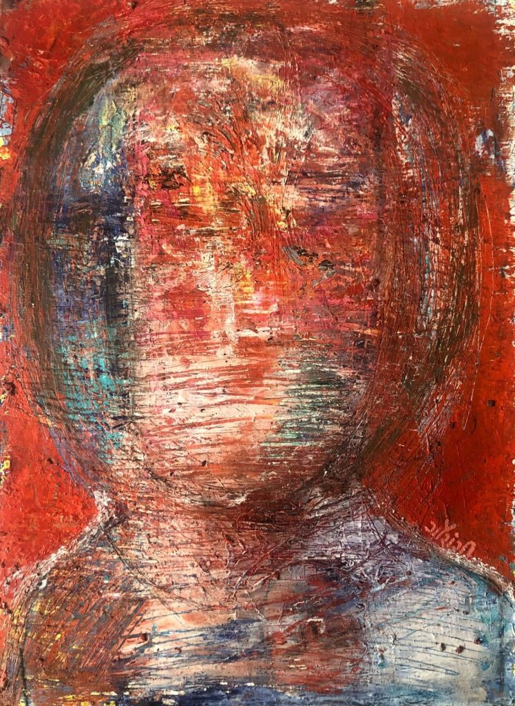 Title: Eroded personality. Medium: acrylic on watercolour paper. Size: 11.7*16.5 inches (2020). Artist: gaurangi mehta shah