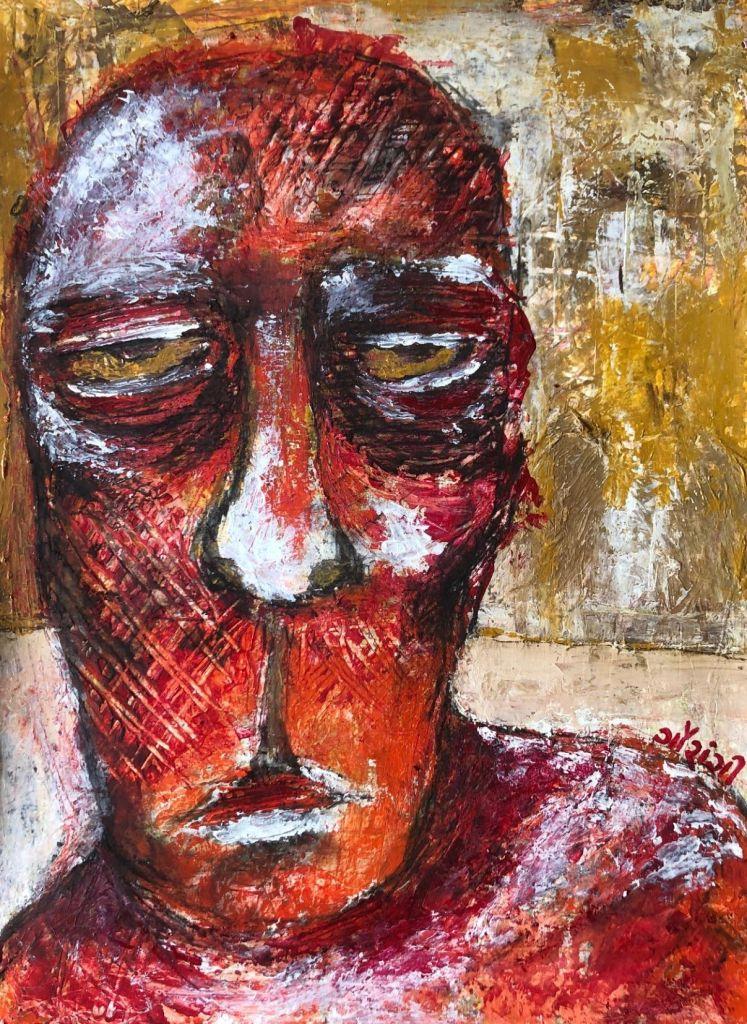 Title: brooding Medium: acrylic on paper. Size: 11.7 *16.5 inches (2020). Artist: gaurangi mehta shah
