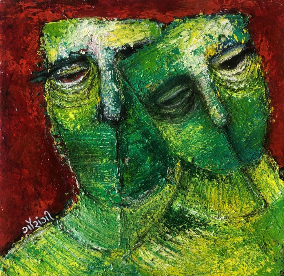 Title: Emerging from each other. Medium: charcoal and acrylic on canvas. Size: 12*12inches, (2020). Artist: gaurangi mehta shah