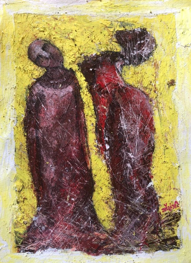 Title: this relationship has frayed. Size: 11.5*16.7 inches. Medium: acrylic on paper (2020). Artist: gaurangi mehta shah