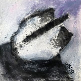 Title: Allowing the energies to seep in. Medium: acrylic with charcoal on watercolour paper. Size: 6*6 inches (2021) Artist: gaurangi mehta shah. Mini-series: lost and found