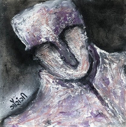 Title: Immersed. Medium: acrylic with charcoal on watercolour paper. Size: 6*6 inches (2021) Artist: gaurangi mehta shah. Mini-series: lost and found