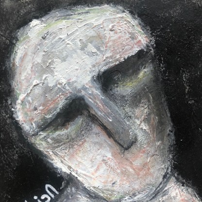 Title: lost and found. Medium: acrylic with charcoal on watercolour paper. Size: 5*5 inches (2021) Artist: gaurangi mehta shah
