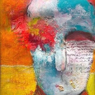 Title: Eruption of unspoken words. Medium: acrylic, charcoal, watercolour crayons, oil sticks on canvas. Size: 14*12 inches (2021) Artist: gaurangi mehta shah