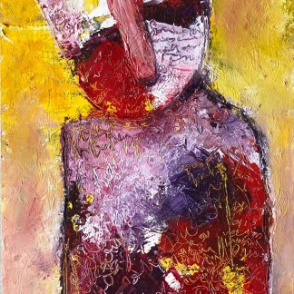 Title: resistance creates blockages. Medium: acrylic on paper. Size: 18*12 inches, (2021). Artist: gaurangi mehta shah. Series: hiding behind my inner walls.