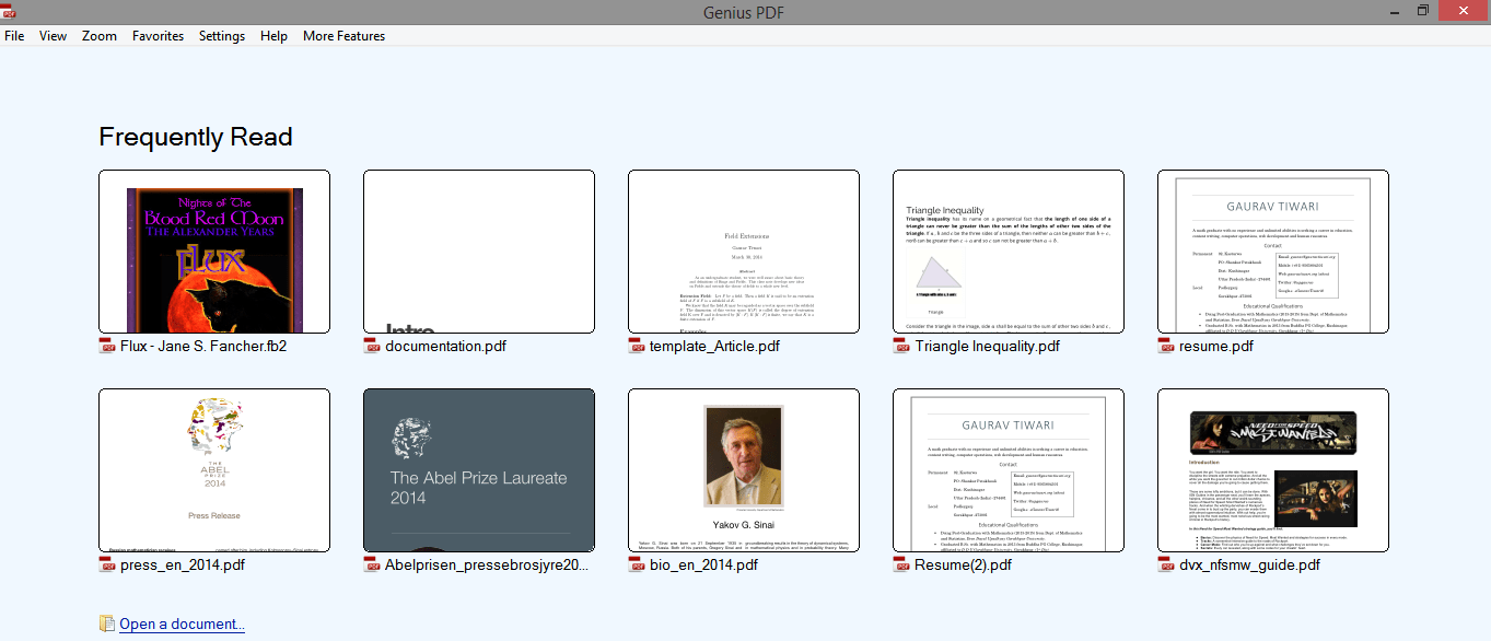Welcome page of GeniusPDF contains most frequently read documents
