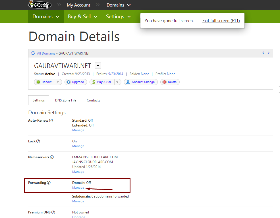 domain forwarding in godaddy