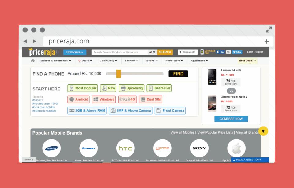 priceraja website screen