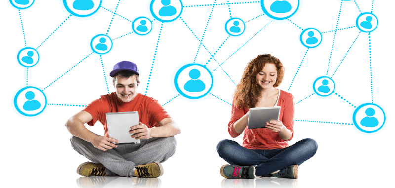 Students on social