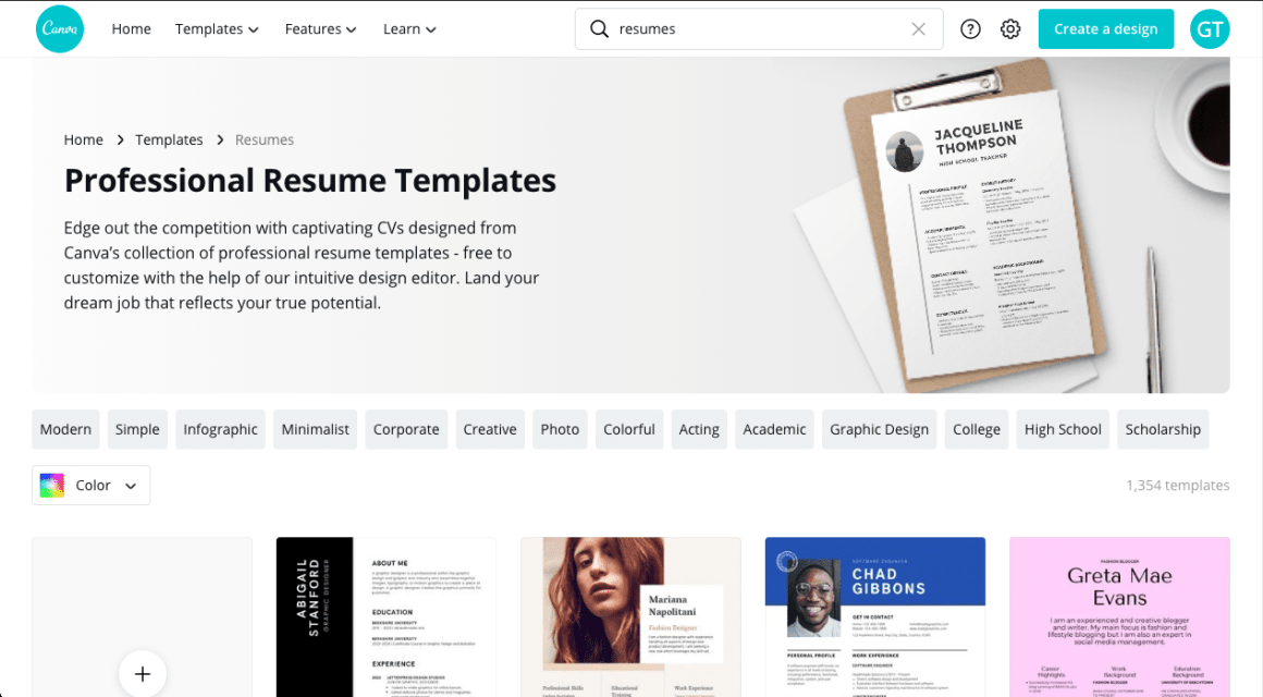 Create a Resume Online Canva