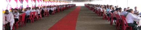 मंडी समिति परिसर में ईवीएम प्रशिक्षण लेते कर्मचारी
