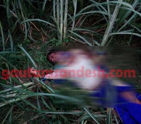 ईख के खेत में पड़ा युवती शव।