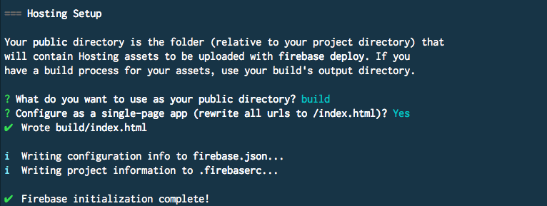 Firebase public directory and initialization complete