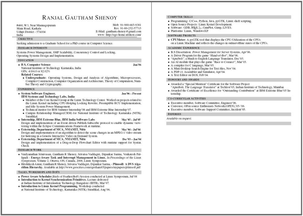 Resume, Webpage and More