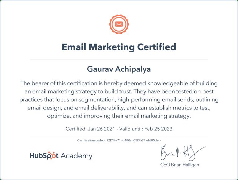 Gaurav - HubSpot Email Marketing