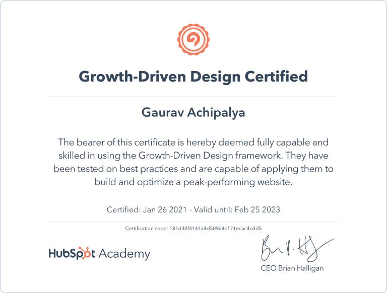 Gaurav - HubSpot Growth Driven Design