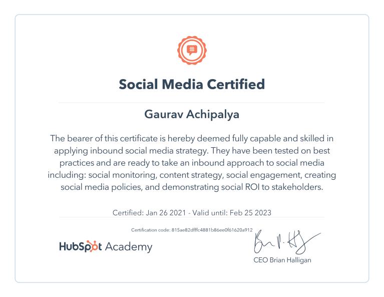 Gaurav - HubSpot Social Media Marketing