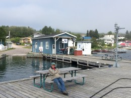August 29 Mike waiting to assist our departure at the Rossport Marina