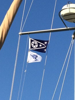 July 7 The GLCC Commodore's Flag sharing space with the Women Who Sail burgee
