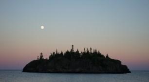 July 18 Moonrise in Cozens Cove - Michipicoten Island Lake Superior
