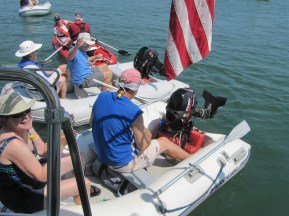 August 5 Chaos at the finish line of the Blind-folded dinghy race!