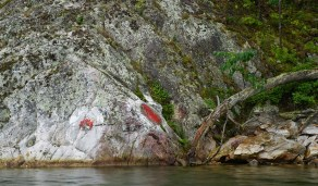 August 27 Red Right Returning painted on the rocks by GLCC members