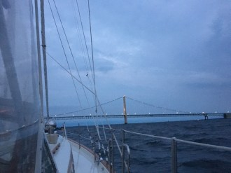 September 25 Approaching the Mackinaw Bridge on Lynn Marie (Gozzard 44)