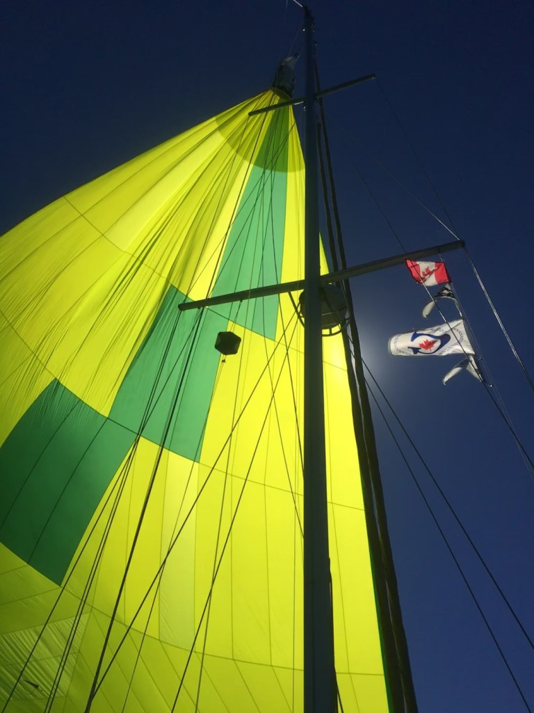 Flying the chute as we head to Goderich