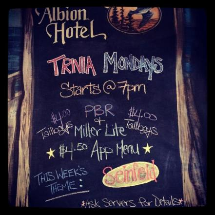 March 6 Trivia Night at the Albion