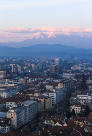 The Julian Alps lit up in the evening sun