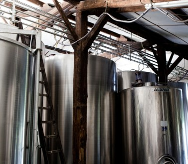 Temperature controlled stainless steel tanks.