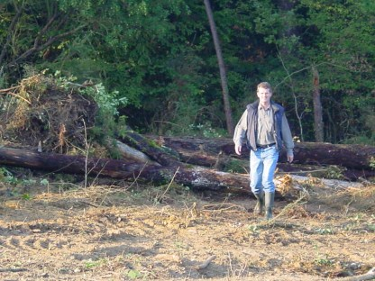 Clearing the field for the vines in October 2003