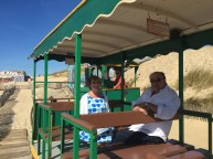 Fiona and David on the choo choo at Cap Ferret on the recce trip.