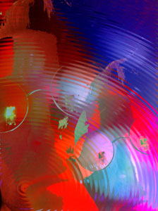 three faces overlaid with bubbles and ripples blue and red