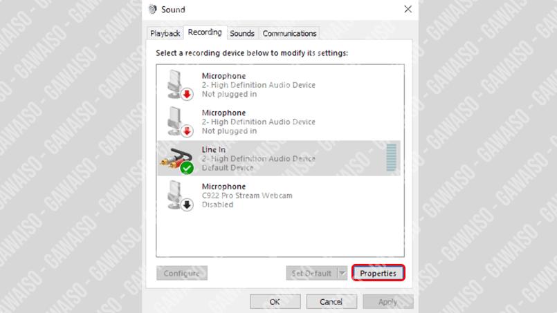 cara menghubungkan audio android ke pc - cek line in properties