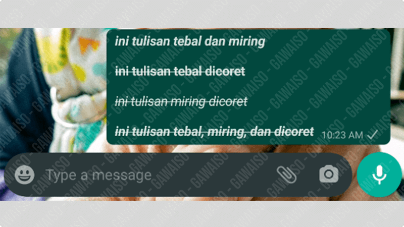 cara edit tulisan whatsapp - kombinasi
