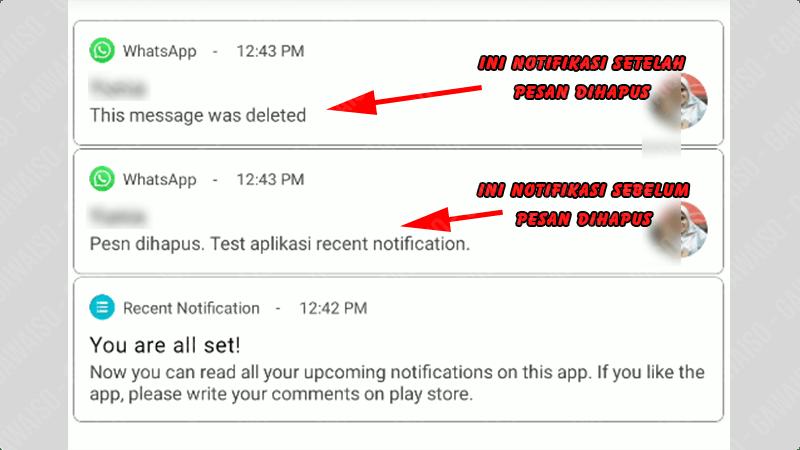 cara melihat pesan whatsapp yang dihapus - recent notification
