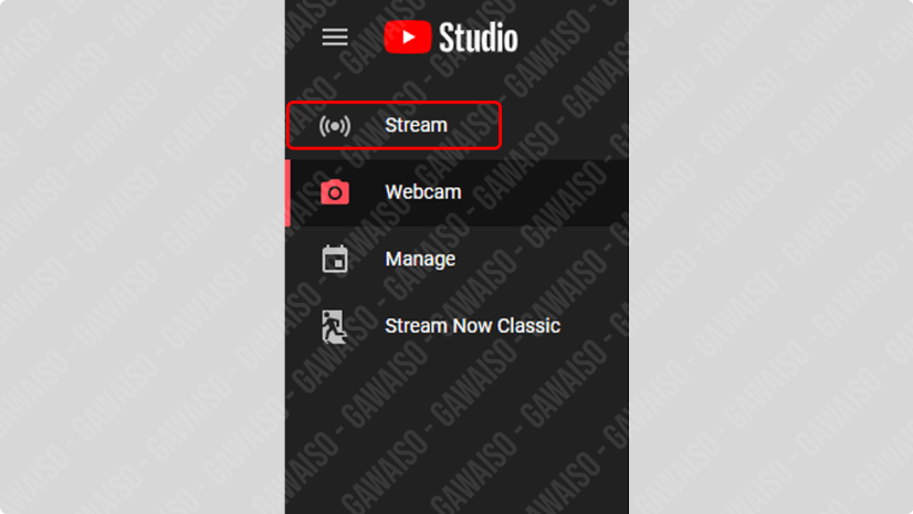 pilih stream di studio youtube