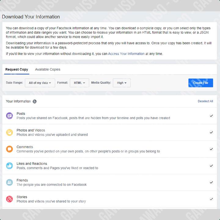 cara download data facebook