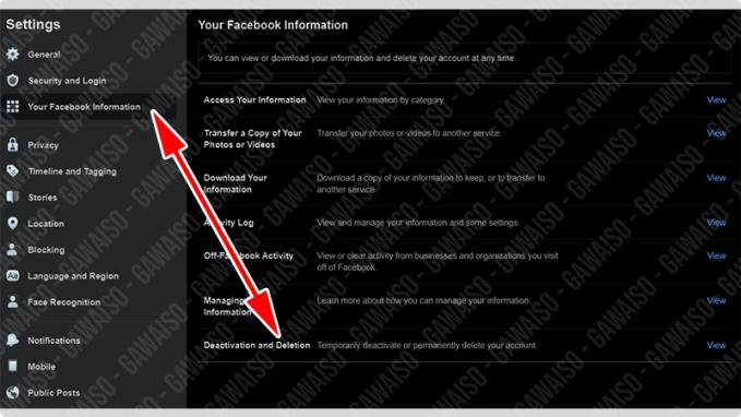 pengaturan facebook untuk menghapus akun